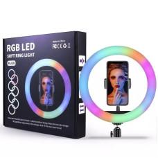 Кольцевая светодиодная Led Лампа RGB MJ26 26 см. с зажимом для телефона